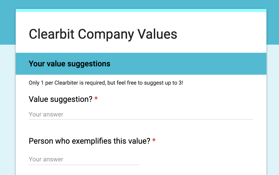 Clearbit employee survey to submit three values