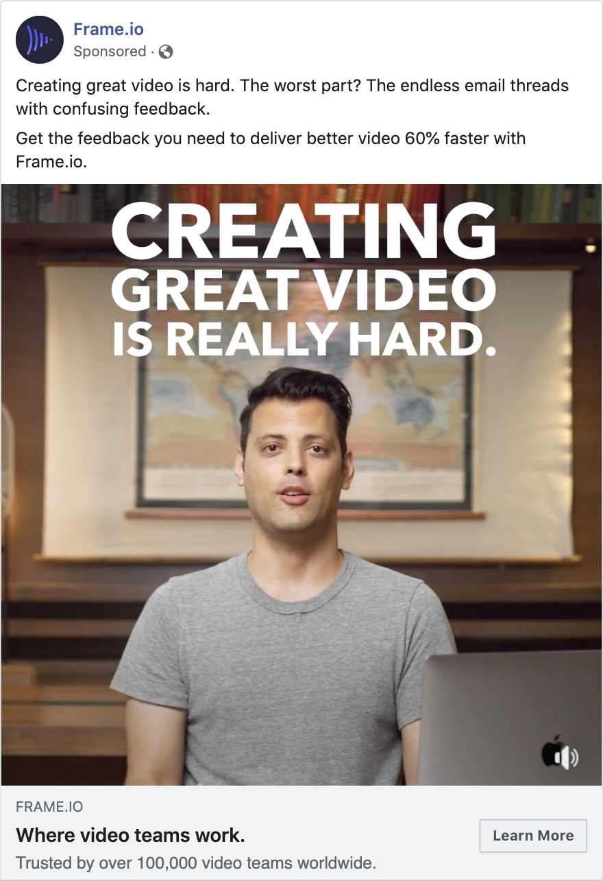 example ad from Frame.io