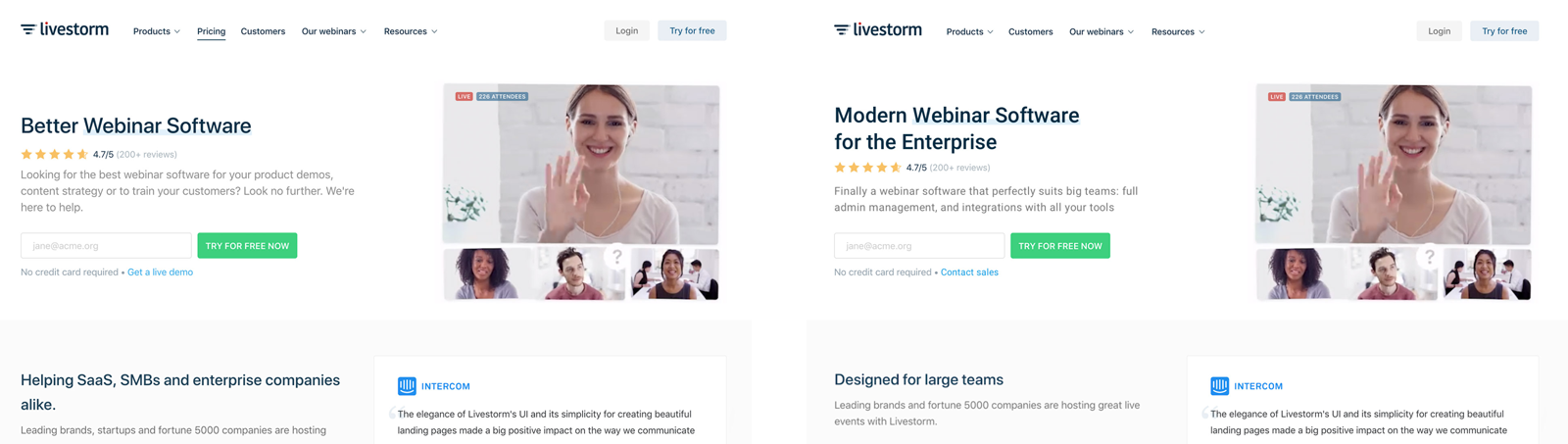 two versions of Livestorm homepage