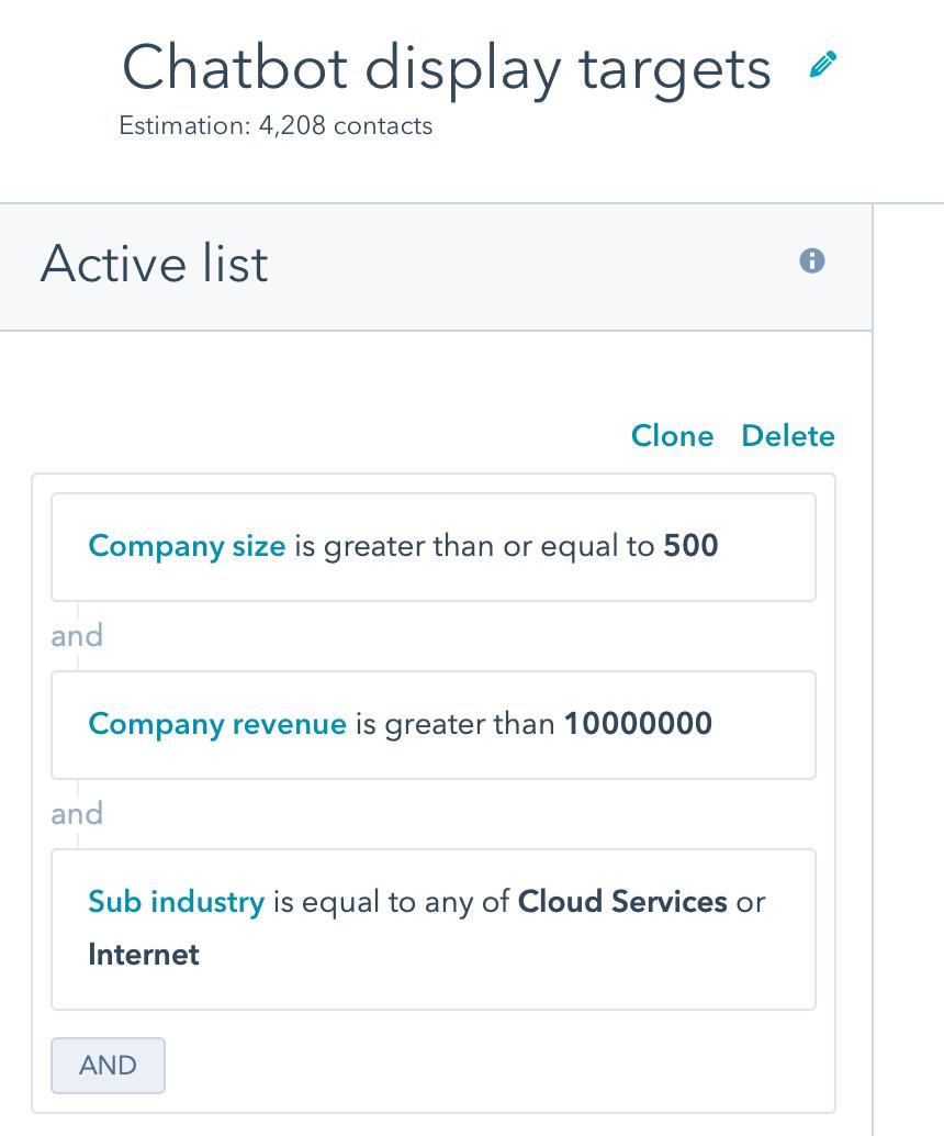 HubSpot chatbot target list