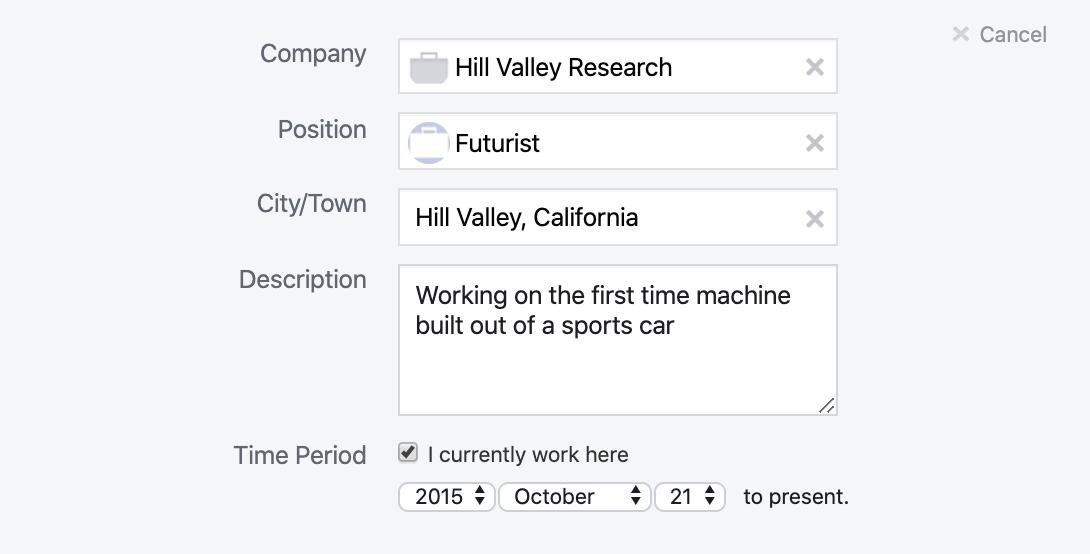 Facebook work profile