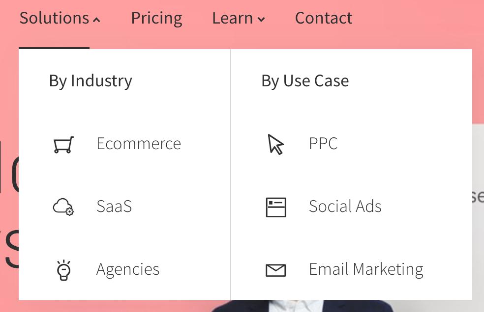 screenshot of homepage nav