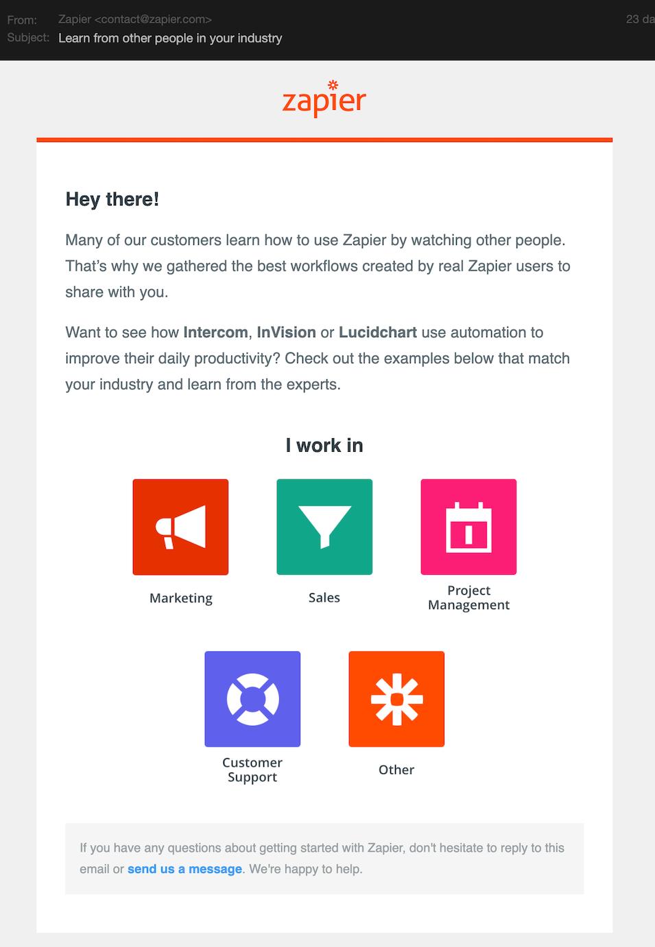 Zapier onboarding email