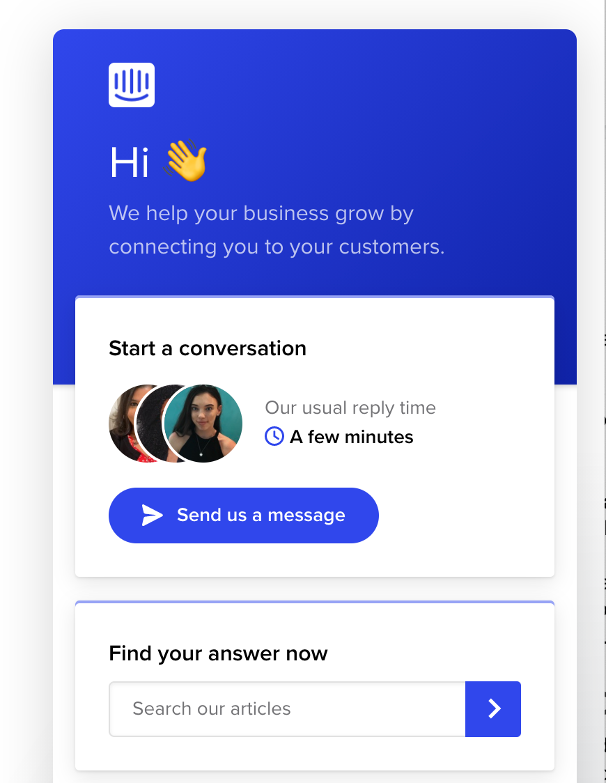 self-serve search option served by Intercom chat